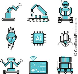 AI automated robot system icon vector design illustration set