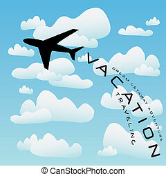 Vacation illustration with a silhouette of a commercial airplane taking off into the clouds.