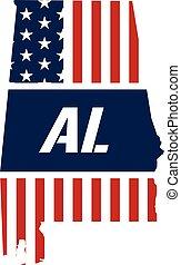 Alabama patriotic map. Vector graphic design illustration