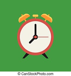 Alarm clock red wake-up time. Vector illustration flat design.