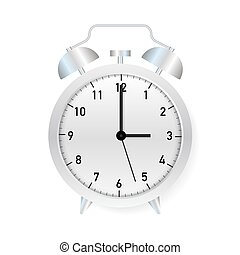 Alarm clock, wake-up time on white background. Vector stock illustration.