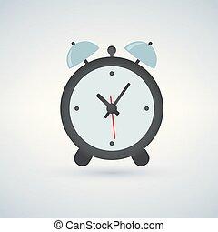 Alarm clock, wake-up time, vector illustration isolated on light background