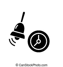 alarm - school bell icon, vector illustration, black sign on isolated background