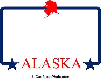 Alaska state map, frame, and name.