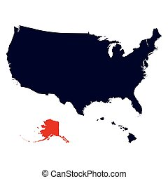 Alaska State in the United States map