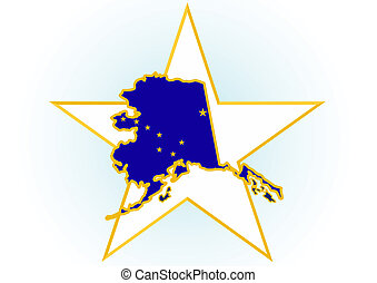 The illustration on white background. Coat of Arms and the border state in the U.S. against the background stars.