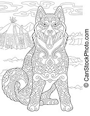 Alaskan Malamute or Siberian Husky dog breed. Eskimo dog. Coloring page. Freehand sketch.