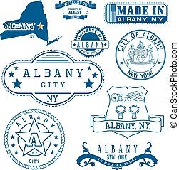 Albany, New York. Set of stamps and signs