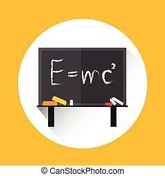 Albert Einsteins Physical Formula on School Board Mass Energy Equivalence Flat Vector Illustration