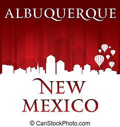 Albuquerque New Mexico city skyline silhouette red background