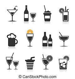 Set of icons alcohol. A vector illustration
