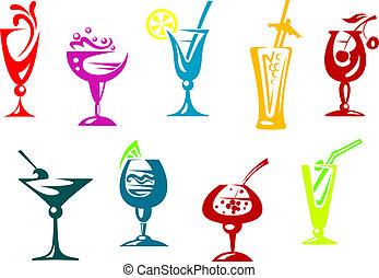 Alcohol and juice cocktails set for beverages design