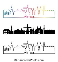 Alkmaar skyline linear style with rainbow