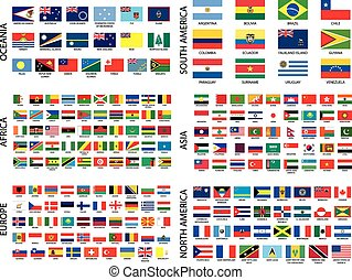 All Alphabetical Country Flags by Continent