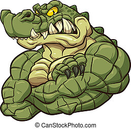 Angry alligator mascot. Vector clip art illustration with simple gradients. All in a single layer.