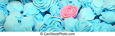 pink rose on the background of many blue roses