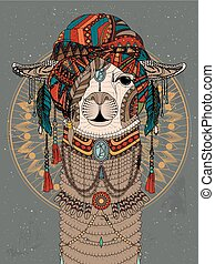 alpaca adult coloring page