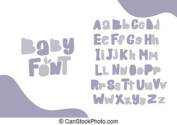 Alphabet. Doodle letters for design. Cute hand drawn characters.