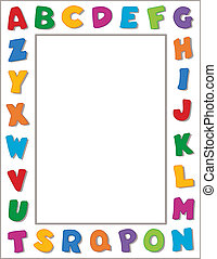 Multicolor alphabet on horizontal white frame background. Copy space for school announcements, posters, fliers, scrapbooks, albums. EPS8 in groups for easy editing.