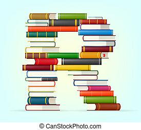 Letter R. Stacks of multi colored books vector illustration