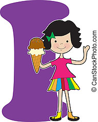 A young girl holding an ice cream cone to stand for the letter I