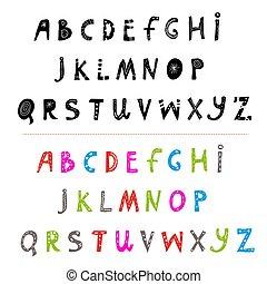 Alphabet hand drawn funny set. Vector illustration