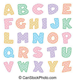 Original alphabet design in pastels with white polka dots. For crafts, scrapbooks, back to school, do it yourself projects, baby albums. EPS8 compatible.