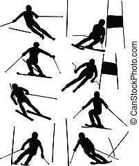 Alpine skiing collection - vector