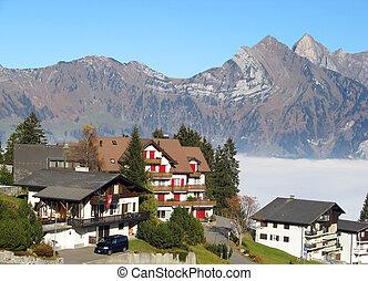 Small alpine village in Switzerland