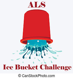 Flat vector illustration of ice cold water spilling from red bucket. ALS Ice Bucket Challenge concept