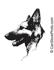 sketching of the alsatian dog