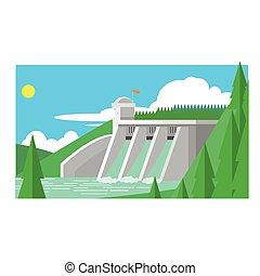 Alternative Energy Dam Flat Vector Illustration In Simplified Style