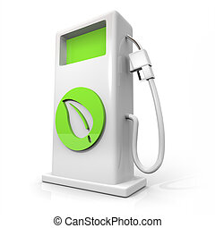 A white pump of alternative fuel with a green leaf symbol on it symbolizing earth friendliness