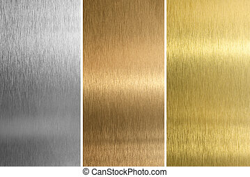 Aluminum, bronze and brass stitched textures
