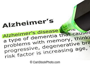 'Alzheimer's disease' highlighted in green, under the heading 'Alzheimer's'