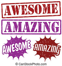 Set of Amazing and Awesome grunge rubber stamps, vector illustration