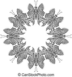 Amazing fly butterflies. Vector illustration. Isolated on white
