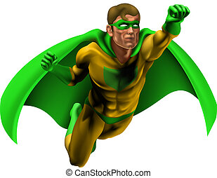 Illustration of an amazing superhero dressed in yellow and green costume with cape flying through the air