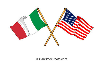 cartoon-like drawings of flags showing friendship between Italy and USA