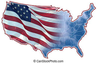 Graphic Designed of the United States map, montage of flag and clouds