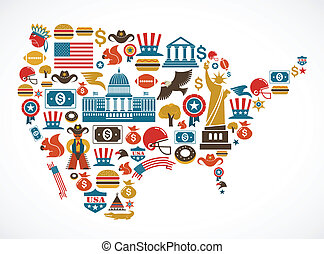 America map with many icons