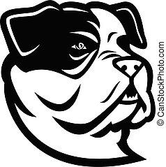 American Bully Bulldog Head Mascot Black and White
