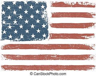 American Flag Grunge Background. Vector Template. Horizontal orientation.