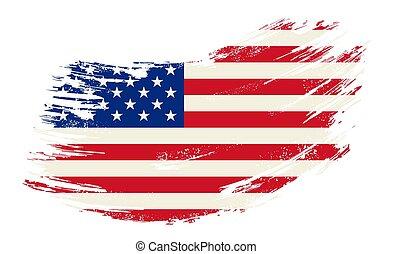 American flag grunge brush background. Vector illustration.