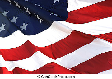 American flag in horizontal up close view.