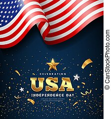 merican flag waving, independence day golden text usa design