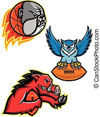 American Football and Basketball Wildlife Sports Mascot Collection