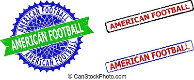 AMERICAN FOOTBALL Rosette and Rectangle Bicolor Stamps with Scratched Surfaces