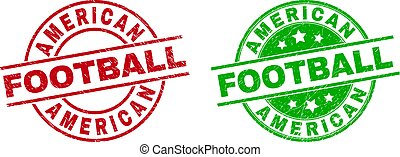 AMERICAN FOOTBALL Round Stamp Seals with Unclean Surface