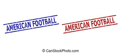 AMERICAN FOOTBALL Stamps with Rubber Style and Parallel Lines